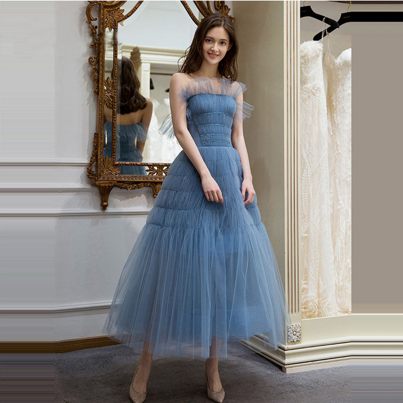 Eleagnt Strapless Tulle A Line Tea Length Prom Dress with Pleats P935