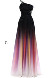 Ombre A Line Sweep Train One Shoulder Sleeveless Open Back Beading Prom Dress,Formal Dress O08