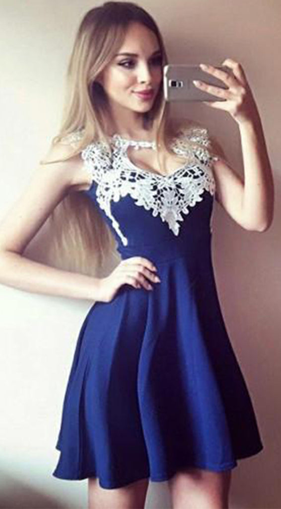 Sexy Chiffon Lace Short A-line Knee Length Homecoming Dress M537