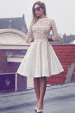 Chic Half Sleeves Round Neck With Appliques A Line Homecoming Dress M638