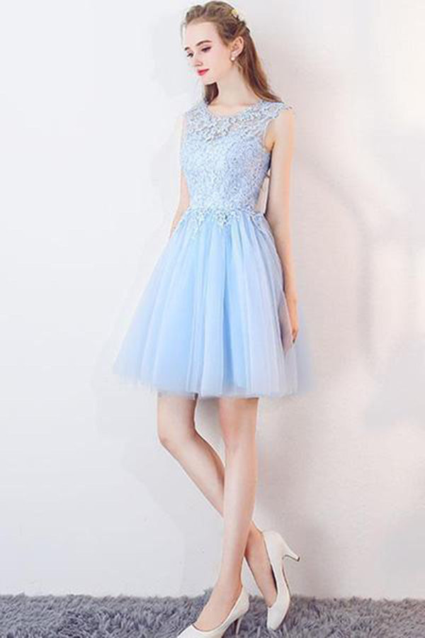 Cheap Light Blue Illusion Sleeveless Lace Appliques Homecoming Dress M637