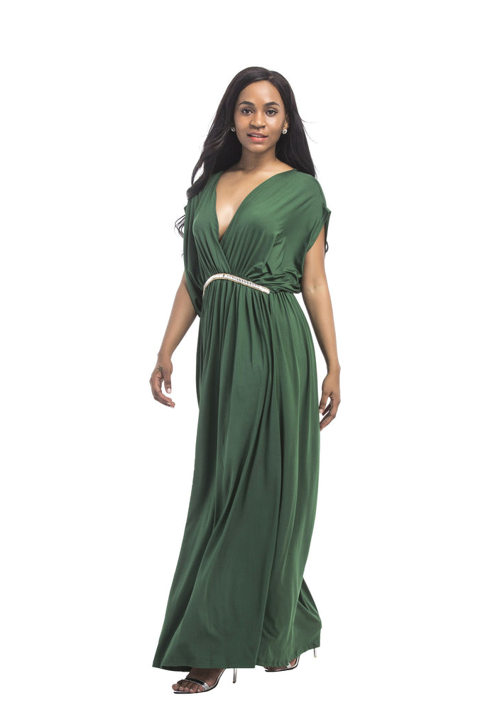 Simple A Line V Neck Green Long Prom Dresses, Cheap Formal Dresses FP3112