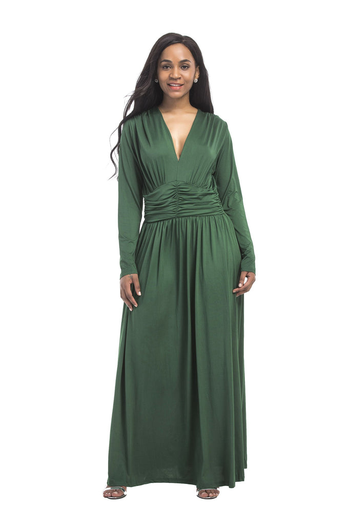 Sexy A Line Green Long Sleeve V Neck Prom Dresses, Simple Prom Gowns FP3105