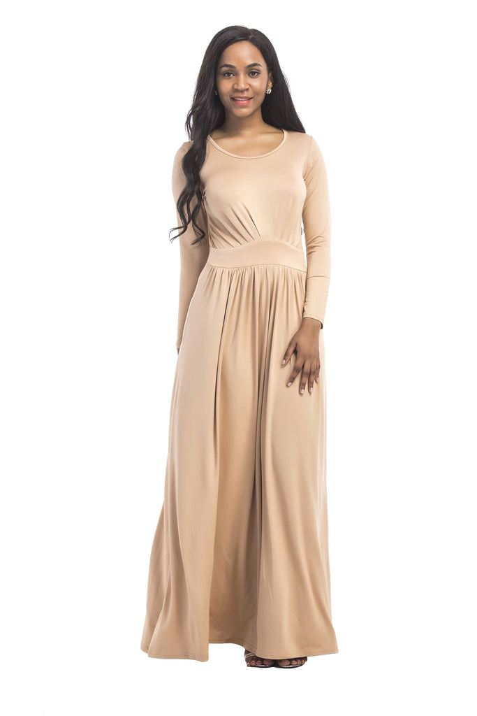 Charming Long Sleeve Round Neck Champagne Long Prom Dress, Simple Formal Dress FP3006