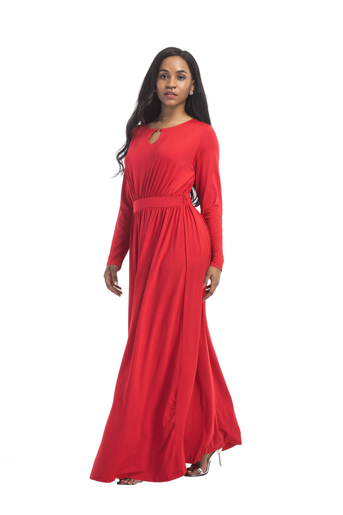 Round Neck Long Sleeve A line Unique Prom Dresses Long Evening Dresses FP3106