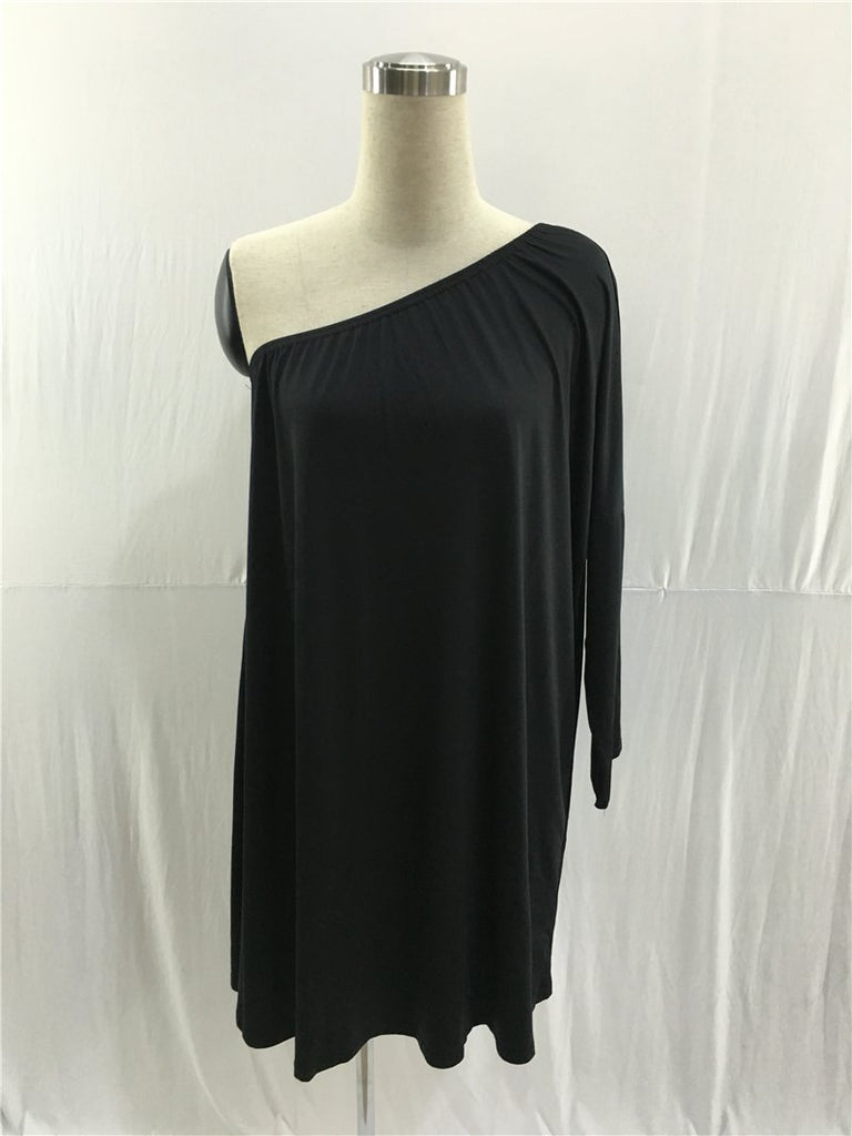 Sexy Black One Long Sleeve Prom Dresses Loose Dresses FP2588