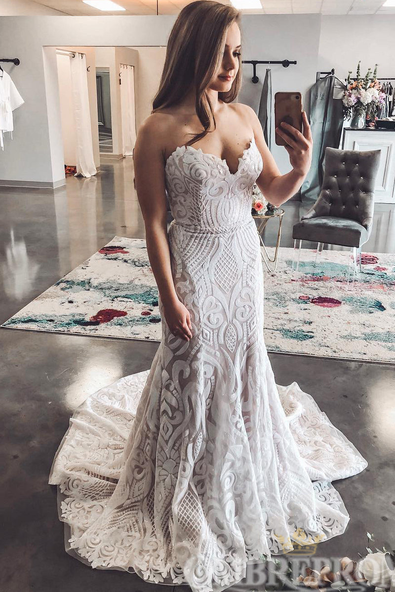 Illusion Sweetheart Lace Mermaid Wedding Dress W786