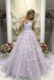 Illusion V Neck Sleeveless A Line Prom Dress with Appliques D326