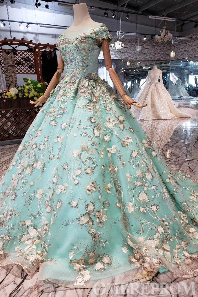Impressive Lace Up Round Neck Ball Gown Prom Dress with Beading D219