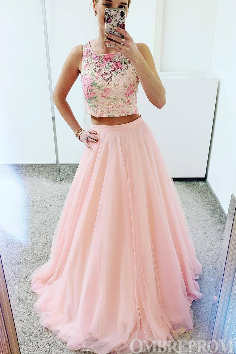 Impressive Two Piece Round Neck A Line Two Piece Prom Dress D136
