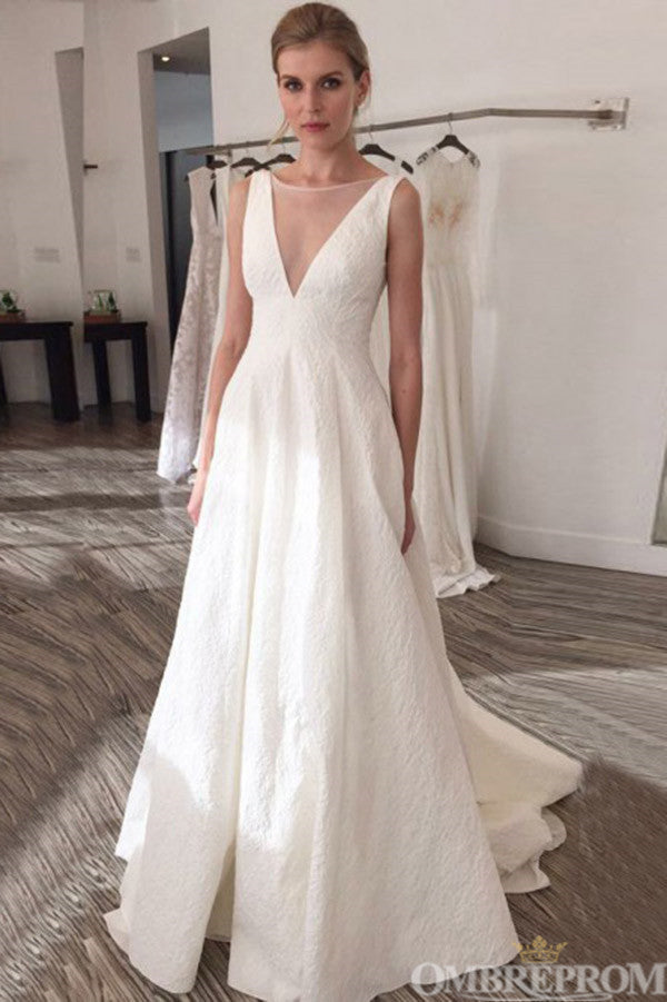 Impressive V Back Sleeveless Sweep Train Wedding Dress W659