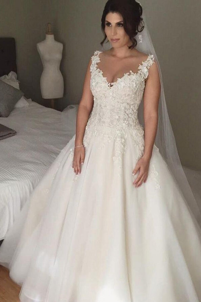 Impressive V Neck Lace Appliques Sleeveless Wedding Dress W792
