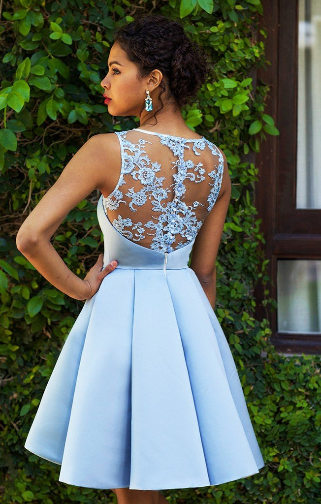Chic Sleeveless A-Line Knee Length Satin Lace Applique Homecoming Dresses M458 - Ombreprom