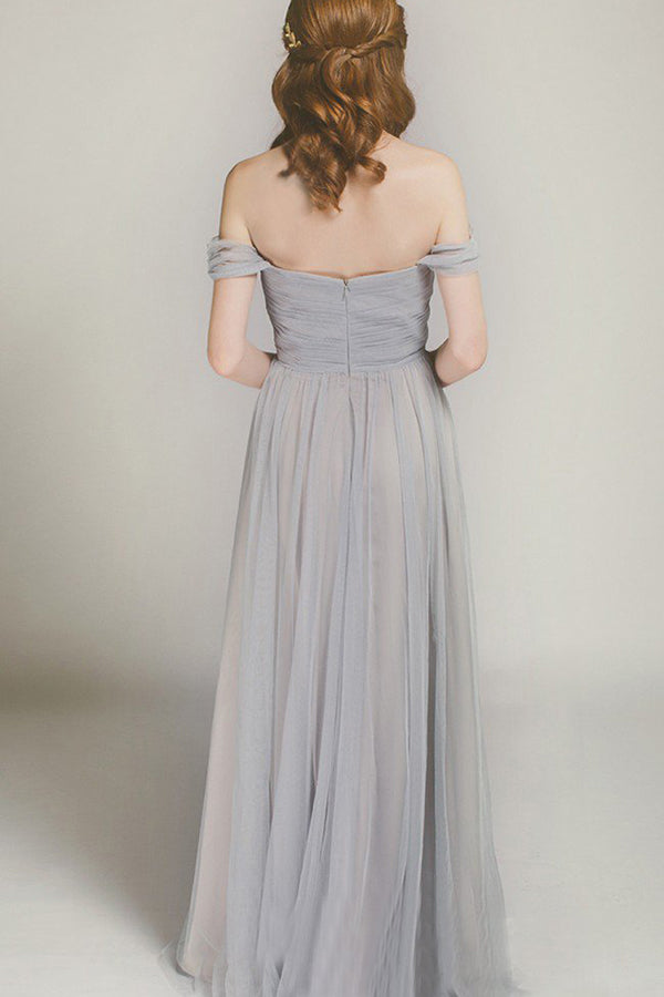 Simple Off the Shoulder Sweetheart Chiffon Floor Length Bridesmaid Dress B421