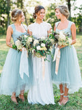 Unique Tulle Sleeveless High Low Bridesmaid Dress B365