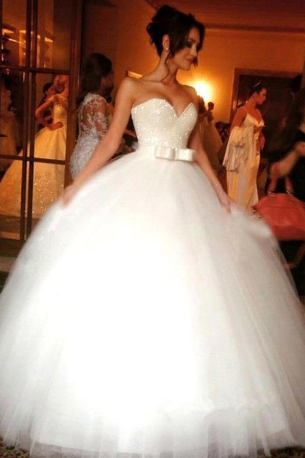 White Tulle Ball Gown Bowknot Sweetheart Sleeveless Floor-Length Wedding Dresses W295