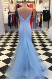 Sparkly Open Back V Neck Spaghetti Straps With Prom Dress P732