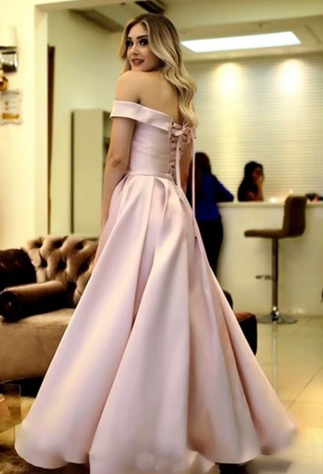 Sexy Off-the-shoulder Ruffles Satin Long Prom Dresses P626