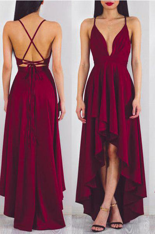 Simple Burgundy High Low A-line Spaghetti Straps Long Casual Prom Dresses Cute Dress P621