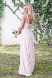 Chic Pink A Line One Shoulder Chiffon Floor Length Long Bridesmaid Dress B423
