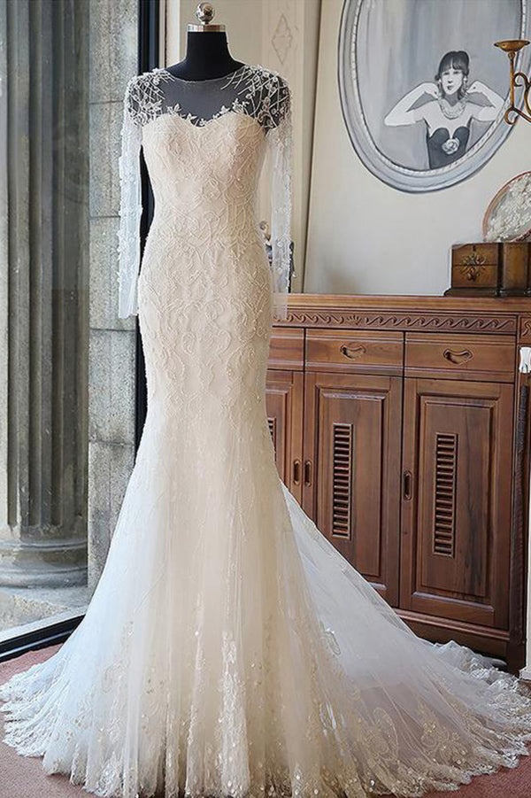 Sexy Tulle Bridal Gown Long Sleeves Lace With Applique Wedding Dress W304