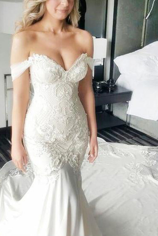 Sexy Appliques Beading Sweetheart Trumpet Wedding Dress W301