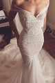 Chic Off-the-shoulder Lace Beading Sweetheart Trumpet Wedding Dress W302 - Ombreprom