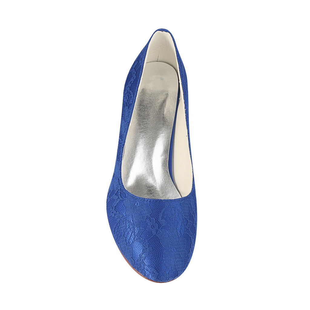 Simple Blue Lace High Low Handmade Women Prom Shoes S01