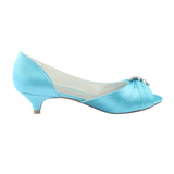 Simple Sky Blue Low Heel Satin With Beading Party Shoes S04