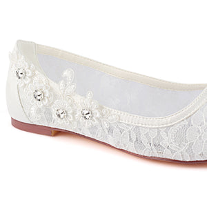 Elegant Beading Flat With Lace Appliques Women Wedding Shoes S11