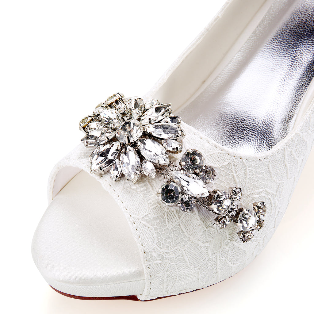 Elegant Handmade High Heel Lace With Beaded Wedding Shoes S15