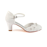 Cute Lace Ankle Strap Handmade Beading With Appliques Wedding Shoes S18