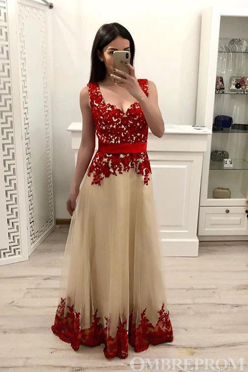 Lace Prom Dress Tulle Sleeveless Floor Length A Line Evening Dress D115