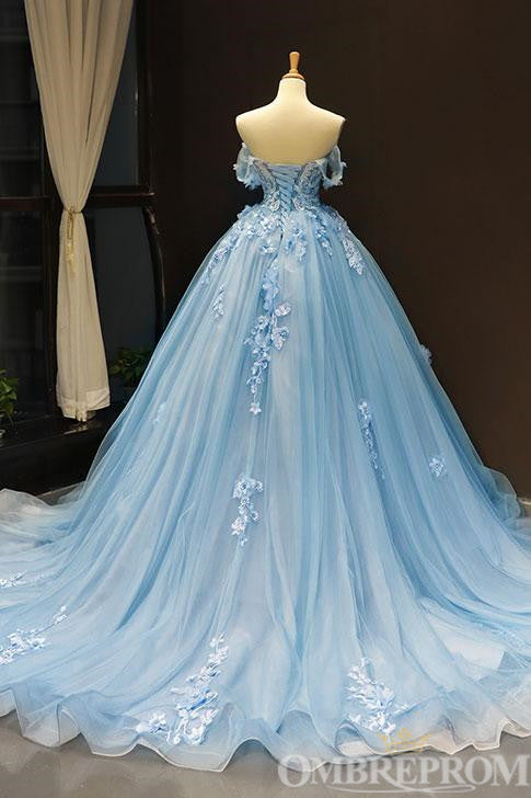 Light Blue Off Shoulder Sweetheart Long Lace Prom Dress D346