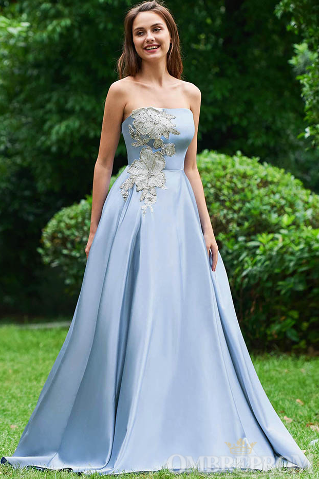 Light Blue Satin Appliques Strapless Low Back Prom Dress D280