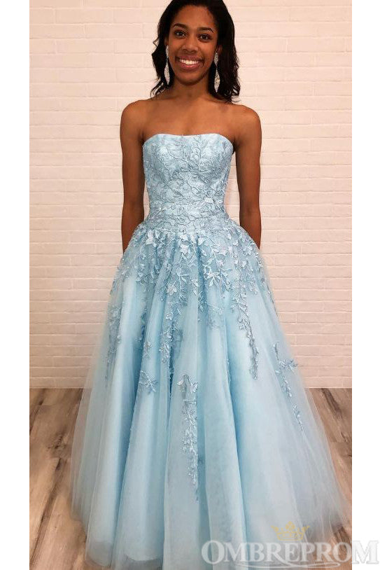 Light Blue Strapless Lace Prom Dress with Appliques D320