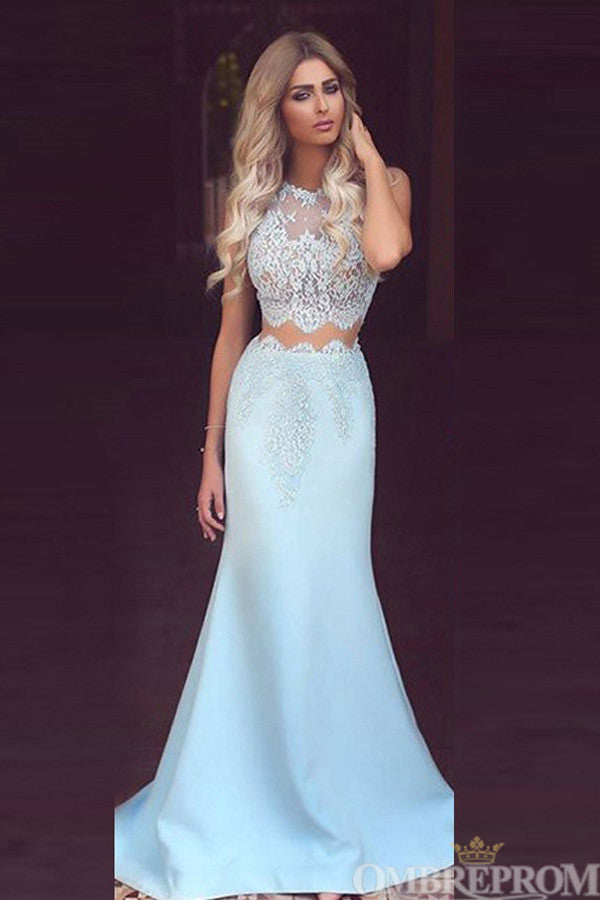 Light Blue Two Piece Sleeveless Top Lace Mermaid Prom Dress D53