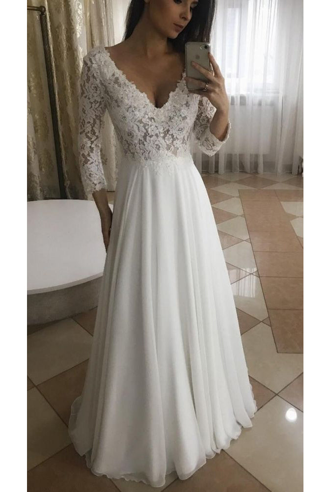 Long Bridal Gown A Line V Neck Chiffon Top Lace Wedding Dress W672