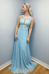 Charming Sky Blue Chiffon With Lace Appliques Floor Length Prom Dress P733