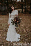 Long Sleeves Lace Wedding Dress Backless Mermaid Bridal Gown W722