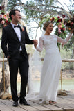 Long Sleeves Round Neck Wedding Dress with Split Side W807
