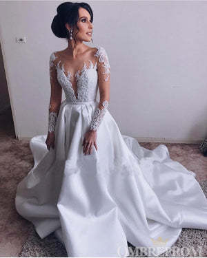 Long Sleeves V Neck Appliques Sweep Train Satin Lace Wedding Dresses W579