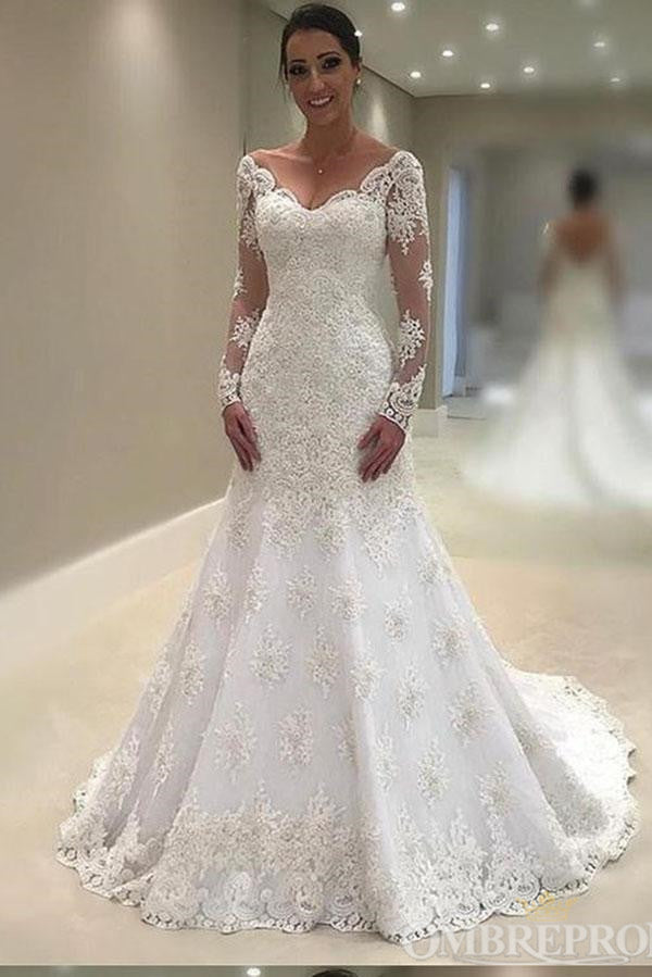 Modest Long Backless Long Sleeves V Neck Sweep Train Lace Wedding Dresses Bridal Dress W587