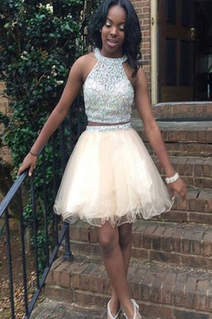 06dc7823767 Elegant Homecoming Dresses Two Piece Tulle Backless With Beading ...