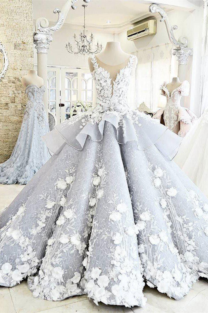 Luxury A Line Sleeveless Ball Gown Princess Wedding Dress With Flower Applique W480 Ombreprom