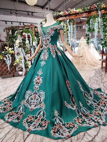 products/Luxury_Green_Round_Neck_Short_Sleeves_Prom_Dress_with_Beading_D220_2.jpg