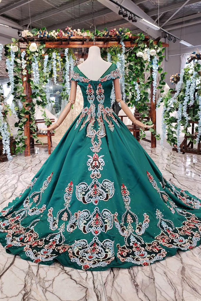 Luxury Green Round Neck Short Sleeves Prom Dress with Beading D220