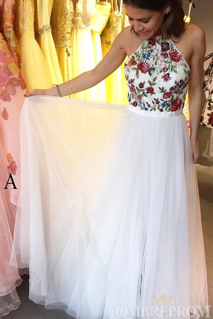 Luxury Halter Embroidery Prom Dress A Line Lace Formal Dress D184