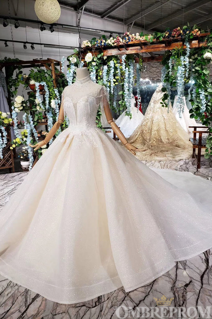 Luxury High Neck Short Sleeves Ball Gown with Beading Wedding Dress W710