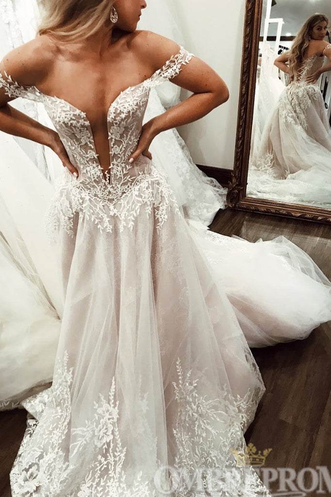 Luxury Off Shoulder Lace Ball Gowns Wedding Dresses W779